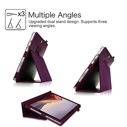 Fintie Case for Surface Pro 7 / Pro 6 - Premium Vegan Leather Slim Fit Folio Cover with Stylus Holder, Compatible with Microsoft Surface Pro 5 / Pro 4 / Pro 3 and Type Cover Keyboard (Purple)