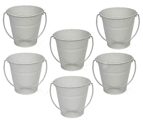 ITALIA 6-Pack Metal Bucket color White Size 7.5 x 7.5 -