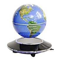 6inch Magnetic Levitation Floating Globe with Electronic Luminous LED Display 360 °Rotating for Desktop Office Home Decor Kids Educational,Blue