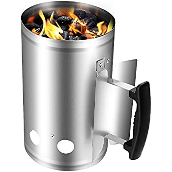 "Charcoal Chimney Starter Grill Barbecue BBQ Galvanized Steel Chimney Lighter Basket Outdoor Cooking Quick Rapid Fire Briquette Charcoal Starters Can Canister for Grilling Camping Accessories 11""X7"""