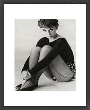 ポスター バッサーノ オードリー ヘップバーン 1950 額装品 ウッドベーシックフレーム(ブラック) B0096XYIZAブラック
