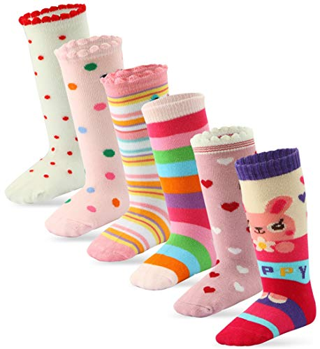 6 Pairs Toddler Girl Knee High Grips Socks, Baby Socks Girl School Socks Anti Slip for Kids (6 Pairs, Fit Age 3-5 Years) (Grip Socks Knee High)