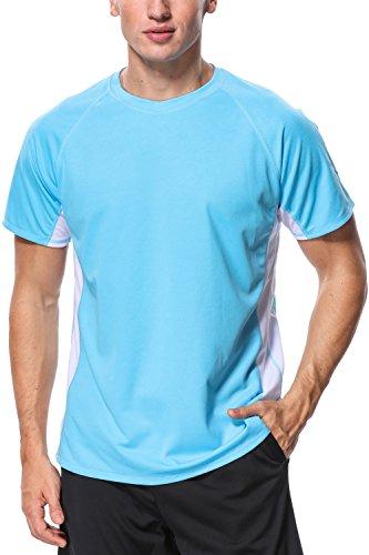 Male Rash Tee Shirt Sun Protection Bathing Suit Tee Rash Guard UV Basic Shirt XL (Tee Adult Swim Shirts)