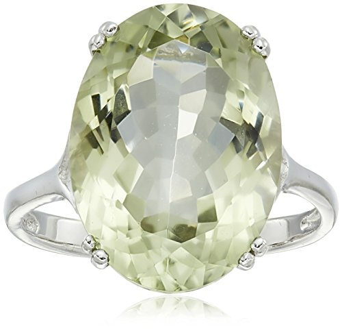 Oval Green Quartz Ring - Sterling Silver 18x13mm Oval Green Amy Ring, Size 8