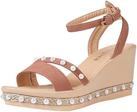 1289922d7 Amazon.com  Women Open Tops Wedge Sandal - Ladies Pearl Strap Buckle Sandals  - Summer Casual Beach Shoes (7