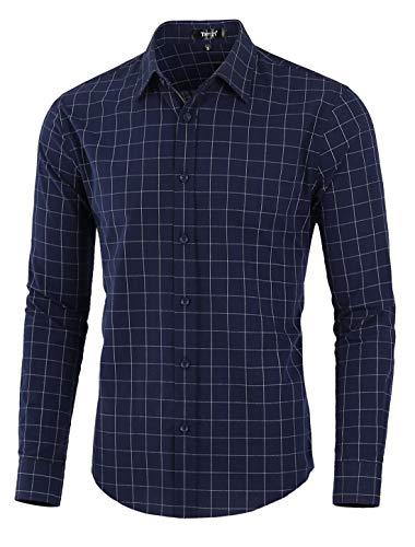 - TATT 21 Men Plaid Shirt Cotton Slim Fit Long Sleeve Check Dress Button Down Windowpane Shirts M Navy Blue