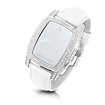 Alessandro Baldieri Damen-Armbanduhr End of Time Digital Automatik Leder weiß AB0041SW-CLR-WHT