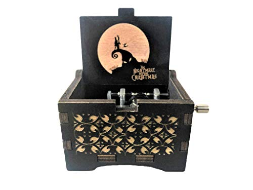 PhoenixAppeal Beautiful Carved Wooden Music Box Hand cranked: Lord of The Rings Beauty and The Beast, Star Wars, Frozen, Zelda and Lord of The Rings Theme Gift (Nightmare Before Christmas) (Christmas Nightmare Gifts Before The)