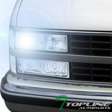 Topline Autopart 6000K Hid Xenon+Chrome Head Lights Lamp Dy 88-00 Chevy/Gmc C10 Ck C/K Pickup Suv (C/k Truck Headlight)