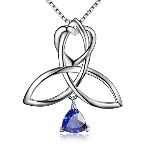 BGTY 925 Sterling Silver Good Luck Irish Triangle Celtic Knot Heart Vintage Pendant Necklace, Box Chain 18