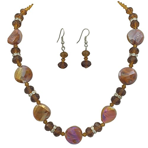Glass Swirl Earrings Bead (Single Strand Glass Beaded Necklace & Dangle Earrings Set (Brown Swirl Disk))