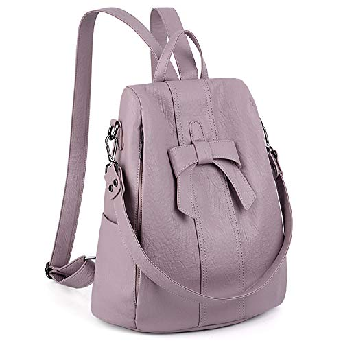 UTO Women AntiTheft Backpack Purse PU Washed Leather Convertible Ladies Rucksack Bowknot Shoulder Bag