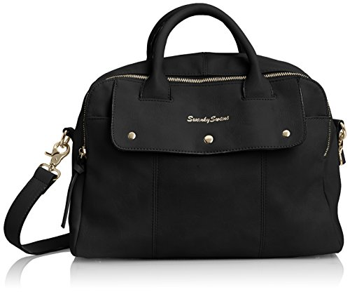 Swankyswans Carla PU Leather Double Zip Smart, Sac Noir (Noir)