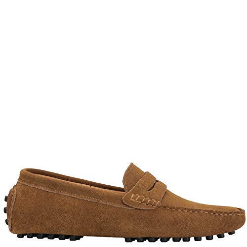 Brown Suede Moccasins - JIONS Men's Driving Penny Loafers Suede Driver Moccasins Slip On Flats Casual Dress Boat Shoes Khaki 11.5 D(M) US/EU 47