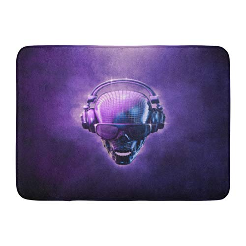 Emvency Doormats Bath Rugs Outdoor/Indoor Door Mat Purple Hip Disco Ball Skull 3D of Shaped Mirror Headphones and Shaded Glasses Blue Hop Bathroom Decor Rug 16