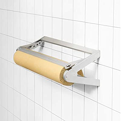 """Wrapping Paper Roll Cutter - Holder & Dispenser for Butcher Freezer Craft Paper Rolls 18"""" - Non-Slip Cutting Tool with Serrated Blade for Christmas Gift Wrap - Wall Mount or Tabletop"""