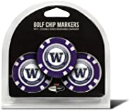 Team Golf NCAA Golf Chip Ball Markers (3 Count), Poker Chip Size with Pop Out Smaller Double-Sided Enamel Mark