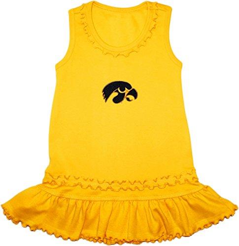 Tank Creeper Over Set - Creative Knitwear University of Iowa Hawkeyes Ruffled Tank Top Dress with Bloomer Set Gold