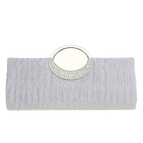 Fashion Road Womens Luxury Evening Wedding Party Purse Clutch Rhinestone Satin Pleated Handbag Wallet Silver