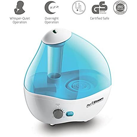PurSteam Ultrasonic Cool Mist Humidifier Superior Humidifying Unit With Whisper Quiet Operation Automatic Shut Off And Night Light Function 2 2 L Water Tank Up To 17 Hours Operating Time