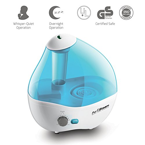 PurSteam Ultrasonic Cool Mist Humidifier - Superior Humidifying Unit with Whisper-Quiet Operation, Automatic Shut-Off, and Night Light Function 2.2 L Water Tank up to 17 hours Operating Time