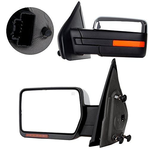 Chrome Mirrors Side Set - SCITOO Towing Mirrors fit 2004-2014 Ford F150 97-99 Ford F250 Chrome Power Heated Puddle Signal Light set pair Mirrors