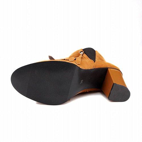 Mee Shoes Damen chunky heels Quaste kurzschaft Suede Stiefel Gelb
