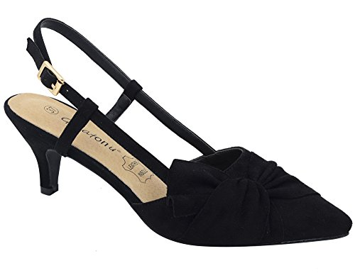 Greatonu Women Court Shoes Sexy Closed Toe Kitten Heels Black Comfortable Slingback Dress Pumps Size 9
