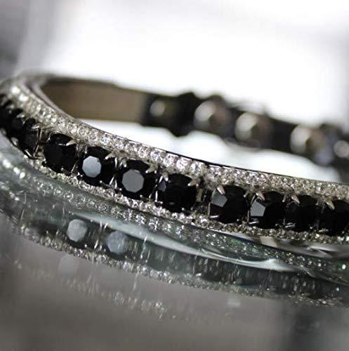 Dog Collars, Black Onyx & White Diamante Crystal Rhinestones Pet Jewelry Collar Necklace, Rockstar Pet Collars TM, Sizes XS-3XL, ()