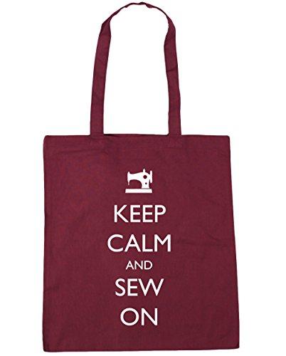 HippoWarehouse Keep Calm and Sew On Tote Shopping Gym Beach Bag 42cm x38cm, 10 litres Burgundy