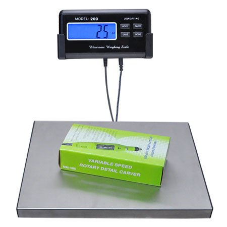 LCD AC Stainless Steel Platform Digital Precision 440lbs Postal Shipping Weight Scale for Pet Floor Bench Postal Platform Vet Animal