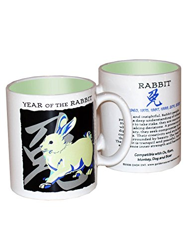 Goldenwave Creations Asian Oriental Chinese Zodiac Coffee & Tea Mug Year of The Rabbit: Birth Years 1927, 39, 51, 63, 75, 87, 99, 2011