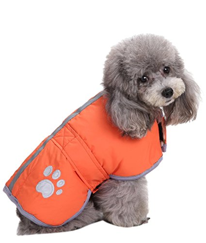 Queenmore Cold Weather Dog Coats Loft and Reversible Winter Fleece Dog Vest Waterproof Pet Jacket Available in Extra Small, Small, Medium, Large and Extra Large sizes (Orange, S) by Queenmore