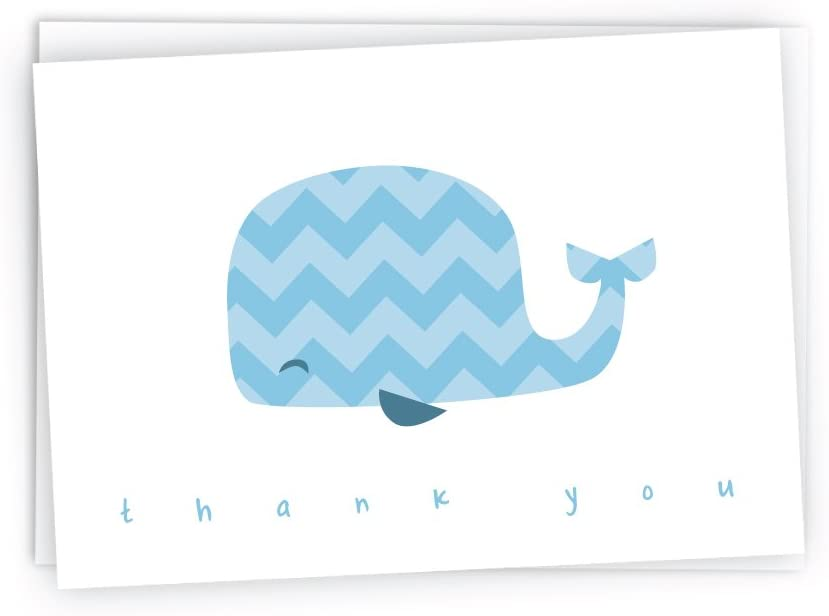 Colorful Chevron Whales Baby Thank You Note Cards - 48 Cards & Envelopes (Blue)