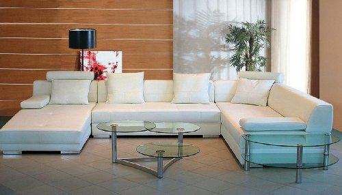 3334 White Bonded Leather Living Room Sectional Sofa