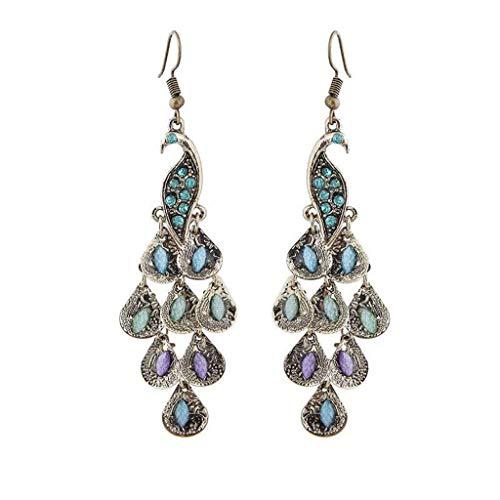 Clearance Sale!UMFunVintage Boho Style Peacock Geometric Pendant Female Earrings Jewelry -