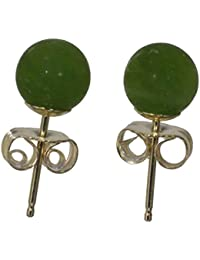 14k Gold Nephrite Jade Round Stud Earrings