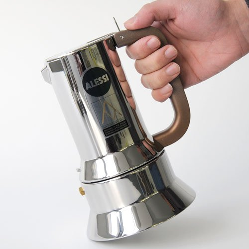 Alessi 9090/6 - Cafetera italiana de acero inoxidable brillo 18/10 con base magnética