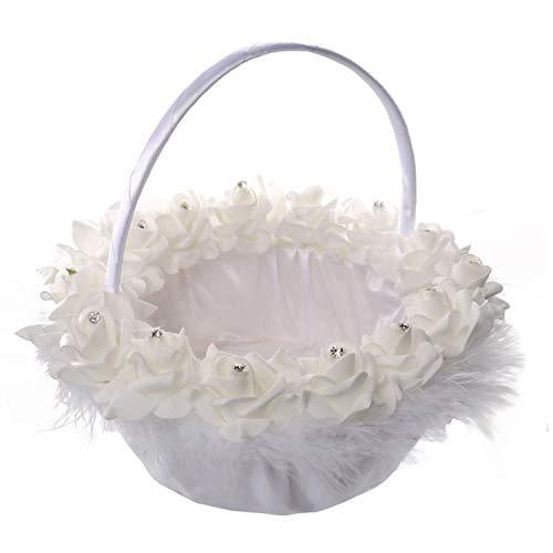 Satin Wedding Flower Girls Basket Romantic Cute Crystal Floral Basket Decor Supplies,As Show