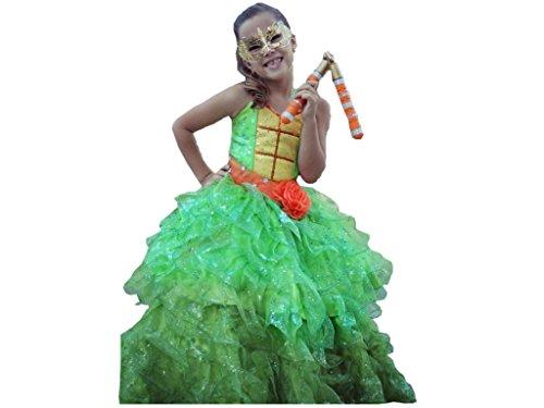 Handmade Princess Costume Little Girls' Ninja Turtle Michelangelo Dress 6 Years Green With Orange And Yellow