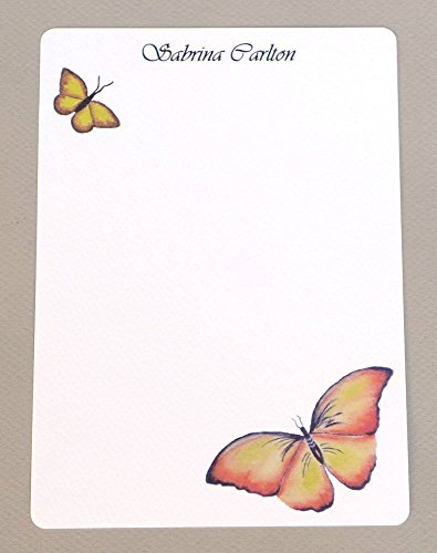 Beautiful Butterflies Personalized Flat Note Card Stationery Set With Envelopes, Complete Custom Monogrammed Note Card Kit, Women's Monogram Correspondence Cards, Garden ()