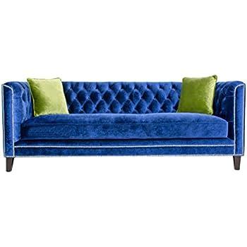 High Quality Pasargad Victoria Collection Velvet Sofa  Navy With Green Pillows