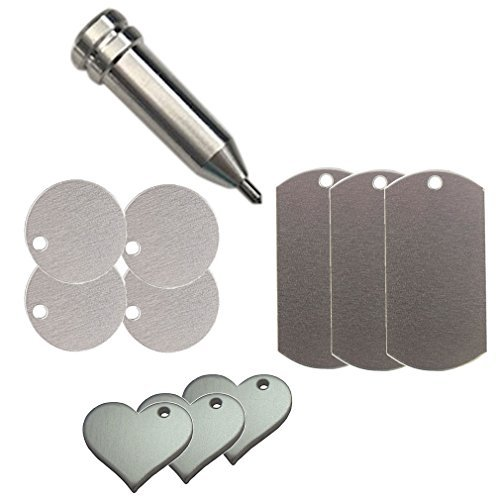 Chomas Creations Etching/Engraving Tool for Maker and Explore and Metal Stamping Blanks: Round, Heart, and Dog Tags - Tags Dog Scrapbooking
