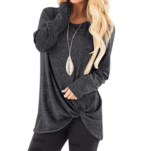 2018 Clearance Sale,WUAI Womens Casual Shirts Long Sleeve O-neck Loose Fit Fashion Solid Running Athletic Tops(Dark Grey,Size L)]()