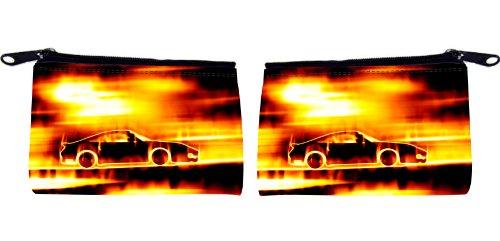 Rikki KnightTM Fiery Blazing Sports Car Design Scuba Foam Coin Purse