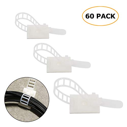 60 Piece 3 size Adjustable nylon cable Straps 3M Self-Adhesive Cable Clips with optional screw mount for cable management, 20 pieces each size(White) Adhesives Nylon Cable Ties