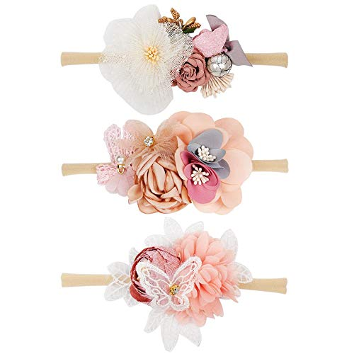 Handmade Infant Girl - CN Baby Girls Floral Headbands Nylon Flowers Crown Hair Bow Elastic Bands For Newborn Infant Toddlers Kids Pack of 3