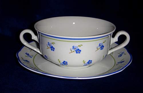 Leander, Forget-me-not-flower, Bone China Porcelain (Set of 6 Soup Сups with 2 handles 12oz & Saucers)