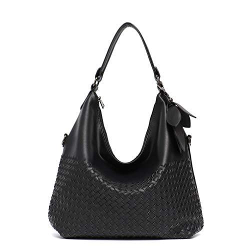 Women's Leather Handbags Hobos Single Shoulder Bags Black
