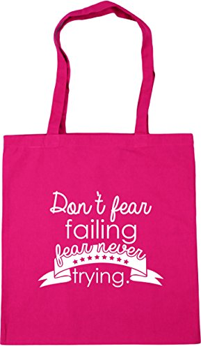 HippoWarehouse Failing Shopping Beach Never 42cm Fuchsia Don't x38cm Fear Tote litres Gym Bag Fear 10 Trying r1w10E